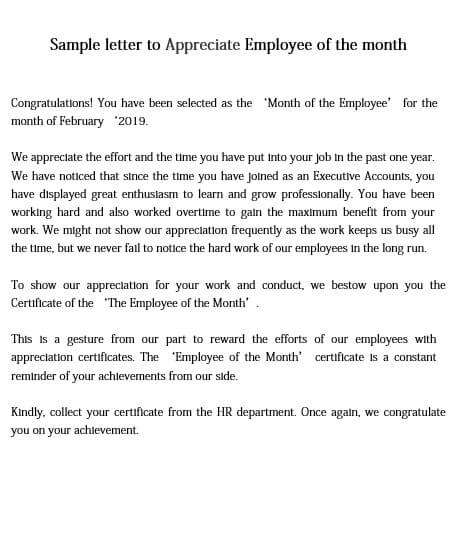 Employee of the Month Appreciation Letter