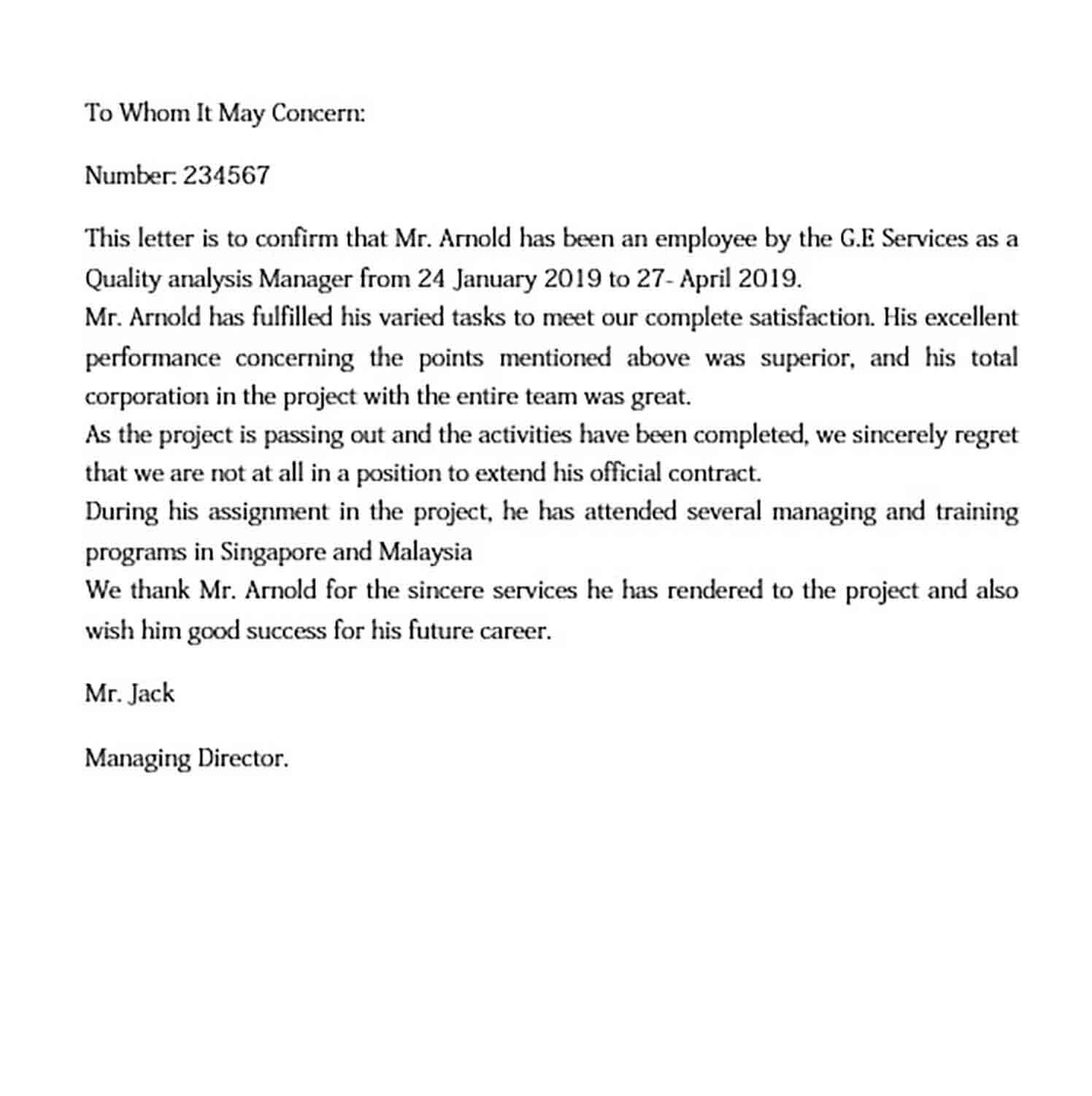 Employment Certification Letter
