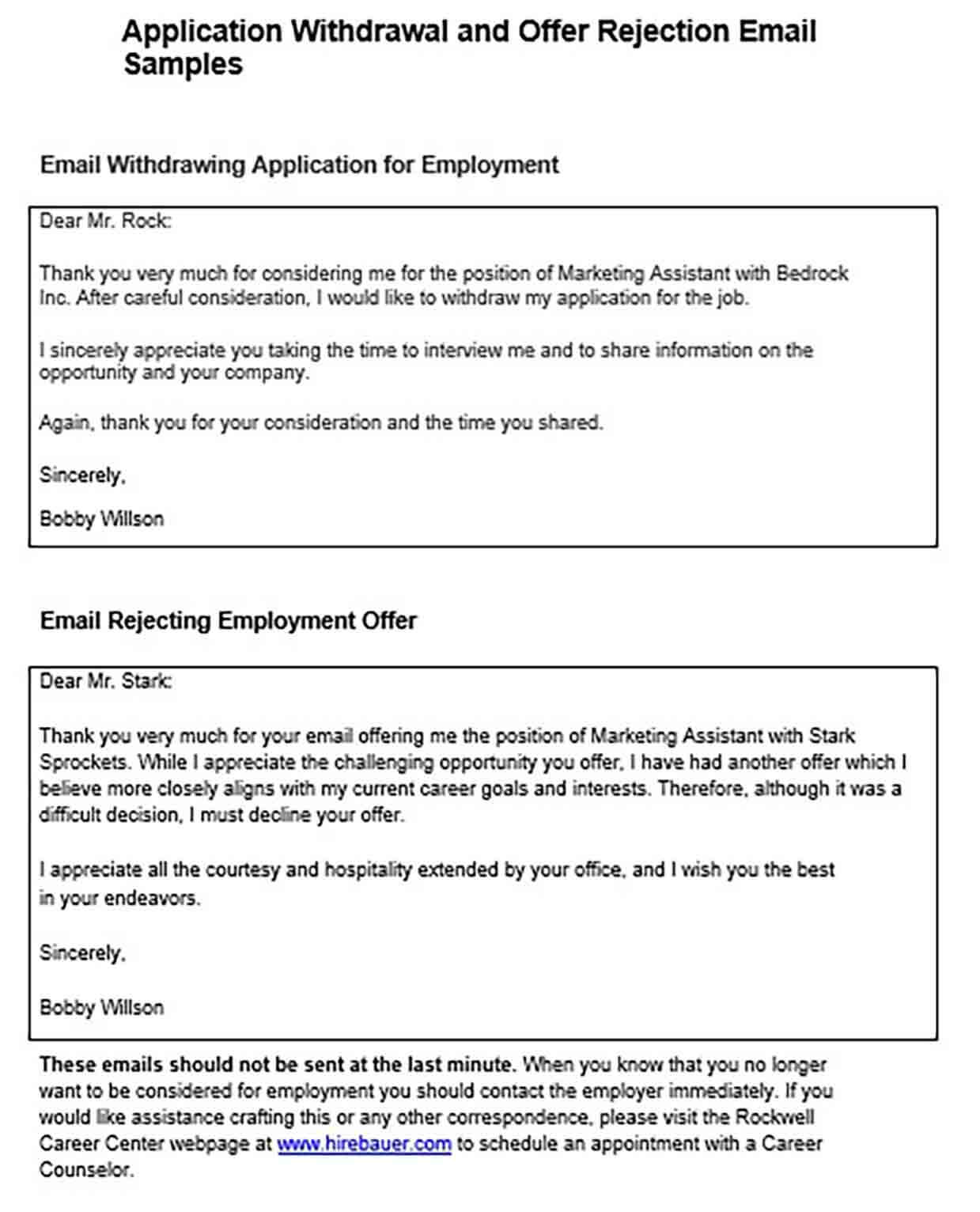 Employment Rejecting Letter Email
