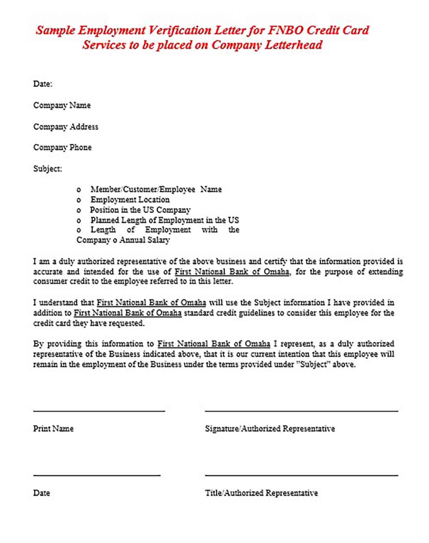 Employment Services Verification Letter