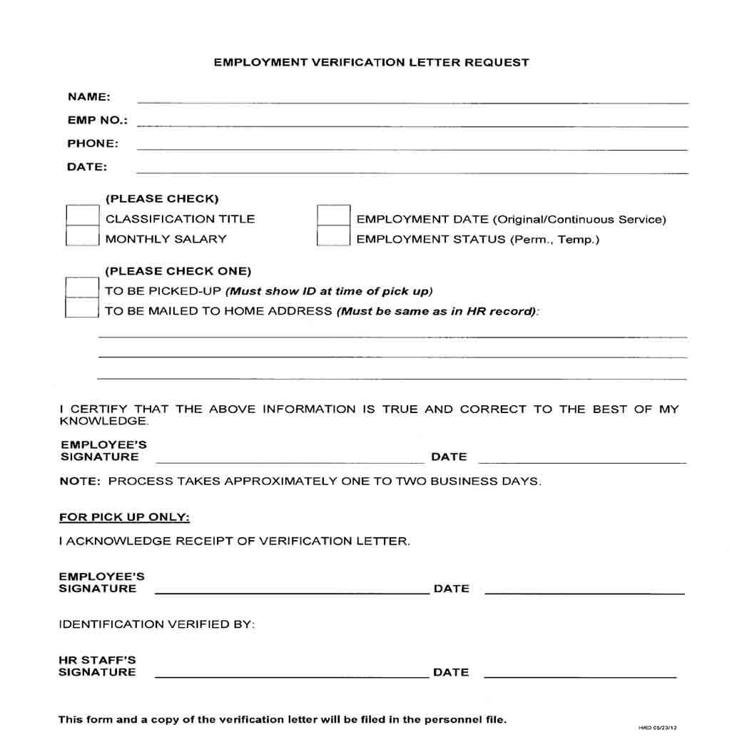 Employment Verification Letter For Request