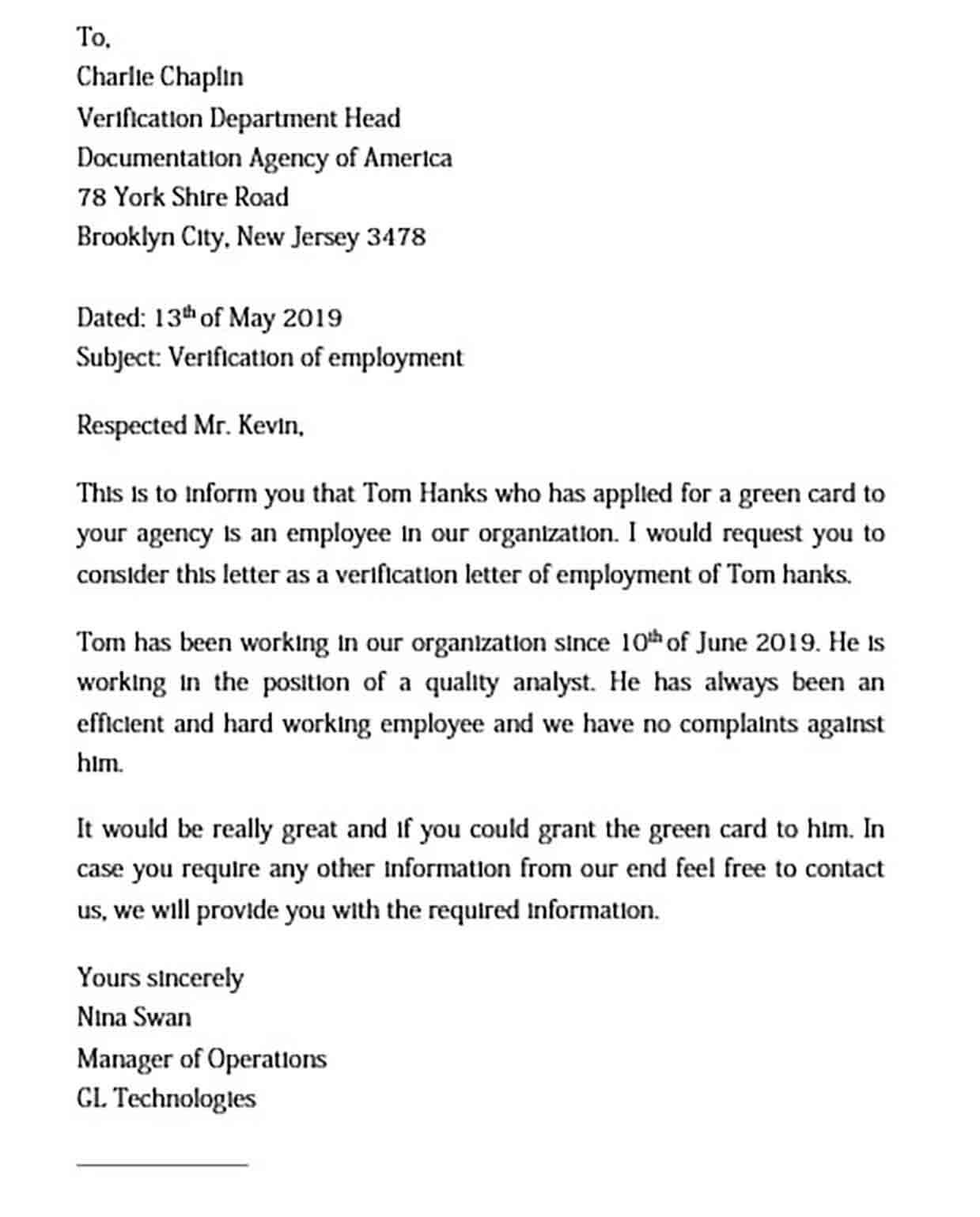 Employment Verification Letter Semplate