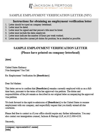 Employment Verification Letter for Visa