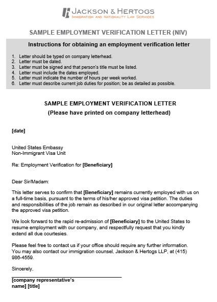 Employment Verification Letter for immigration in
