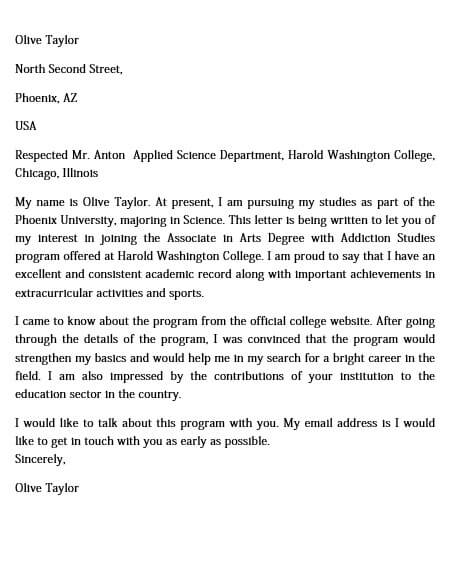Example College Letter Of Intent
