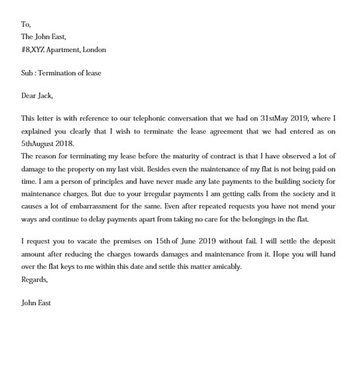 Example For Early Lease Termination Letter
