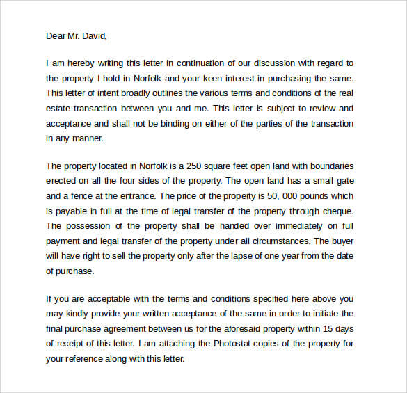 Example Letter of Intent to Real Estate