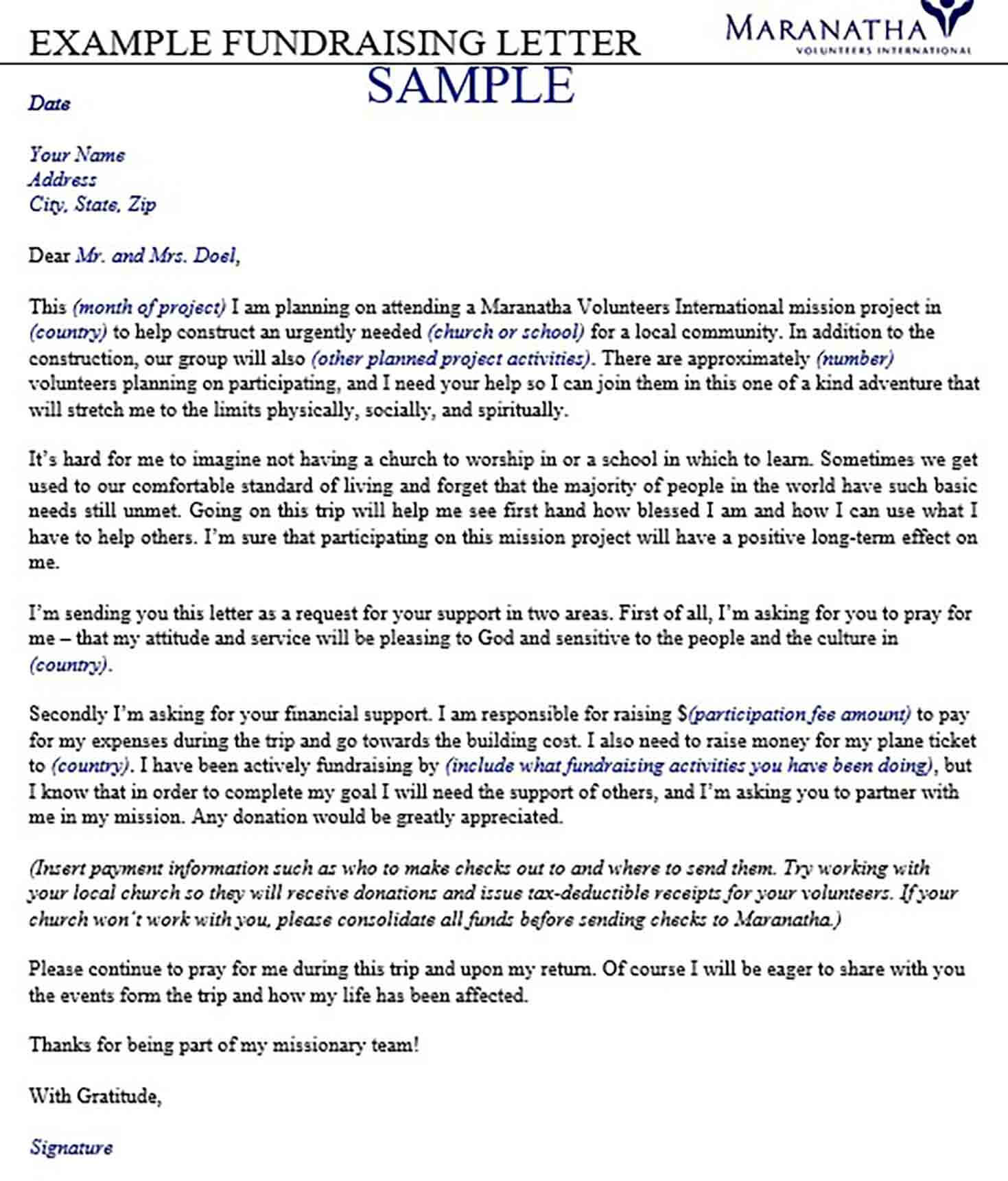Example of Fundraising Letter