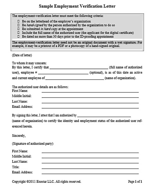 Exostar Sample Employment Letter