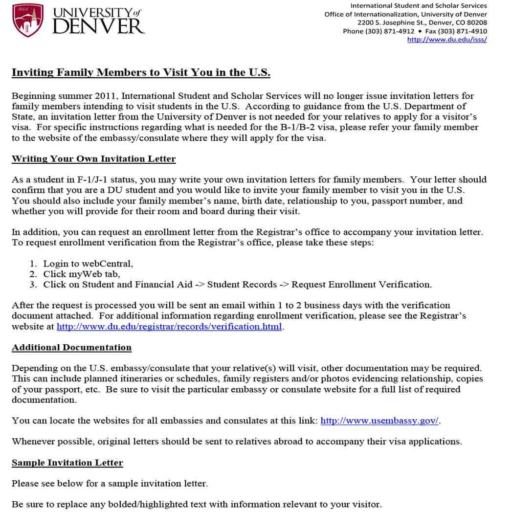 Family Invitation Letter for US Visa