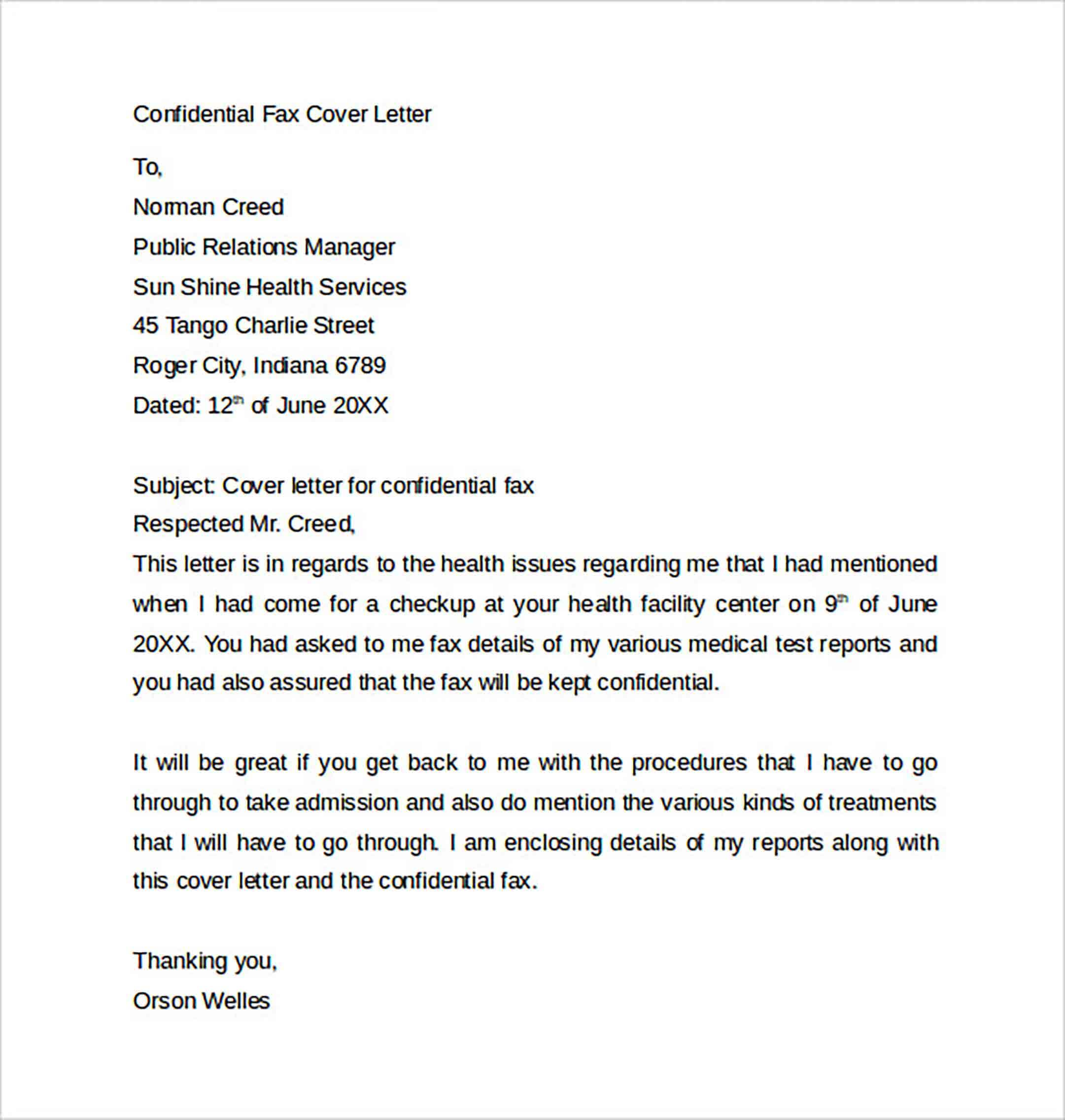 Fax Cover Letter to Print