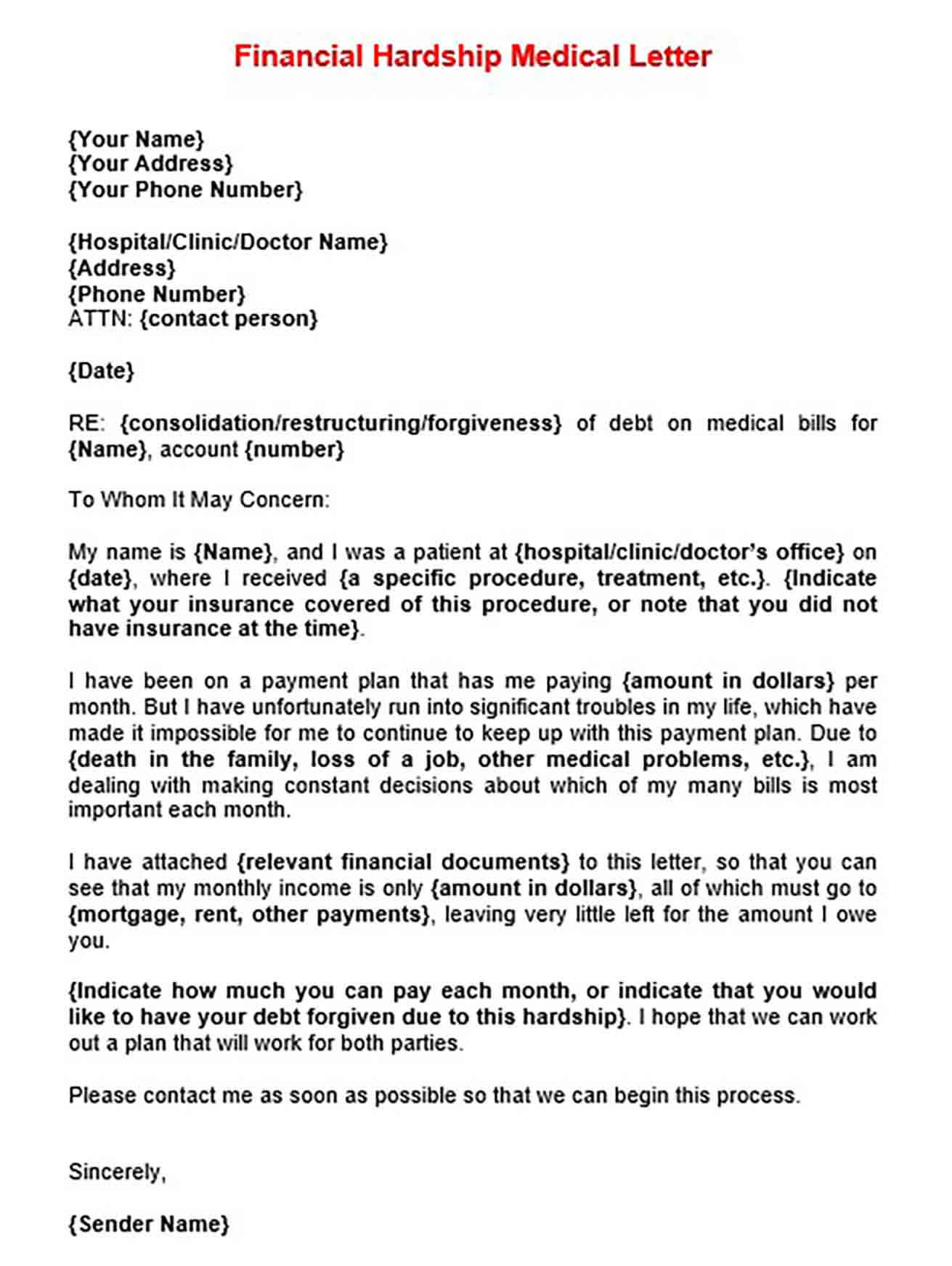 Financial Hardship Medical Letter