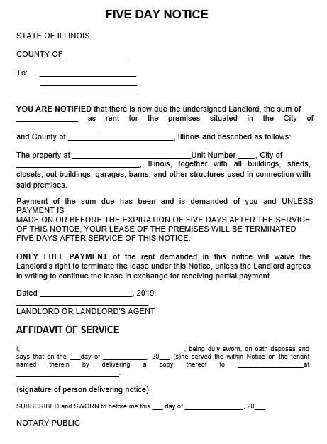 Five Day Eviction Notice Letter