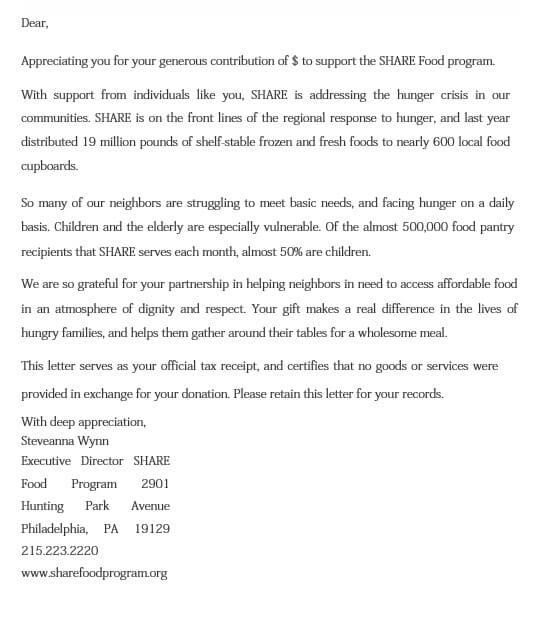 Food Donation Appreciation Letter
