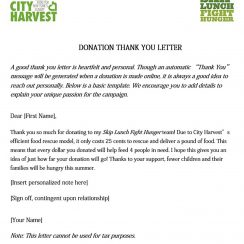 Food Donation Thank You Letter