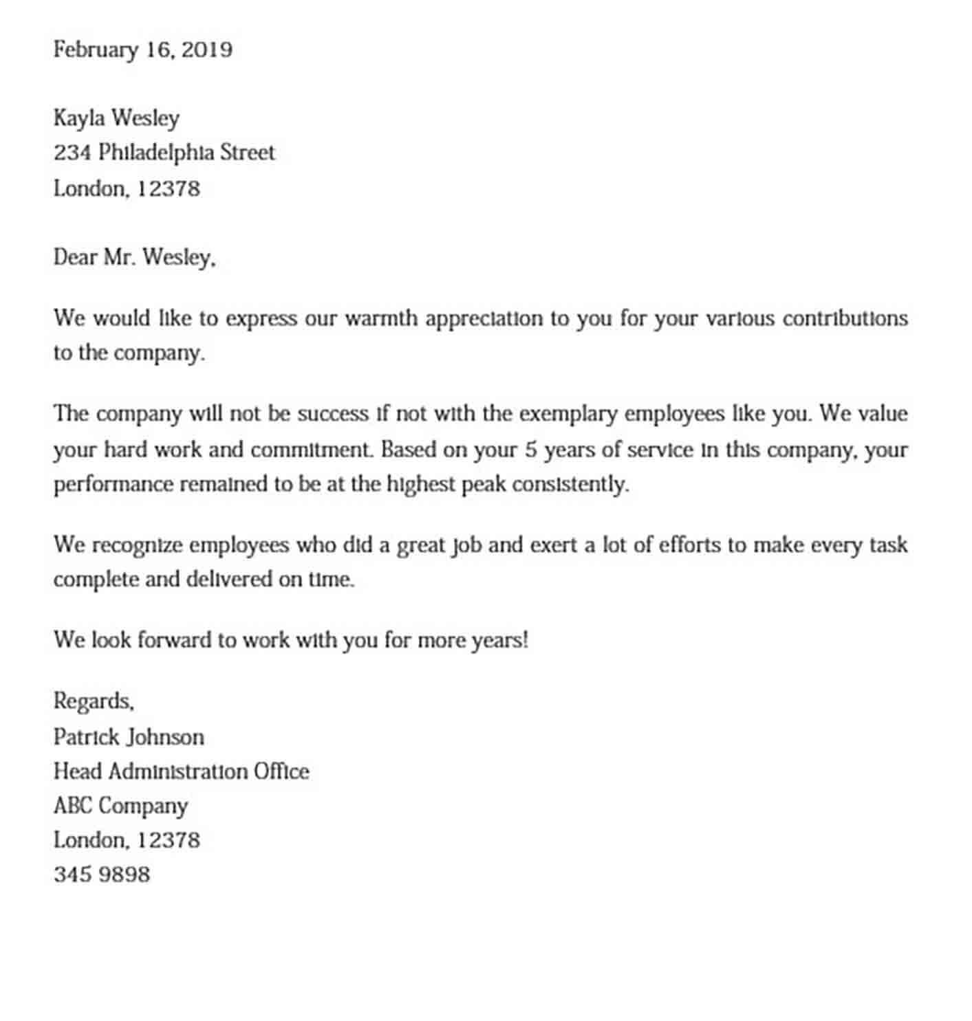 Formal Employee Appreciation Letter DOC