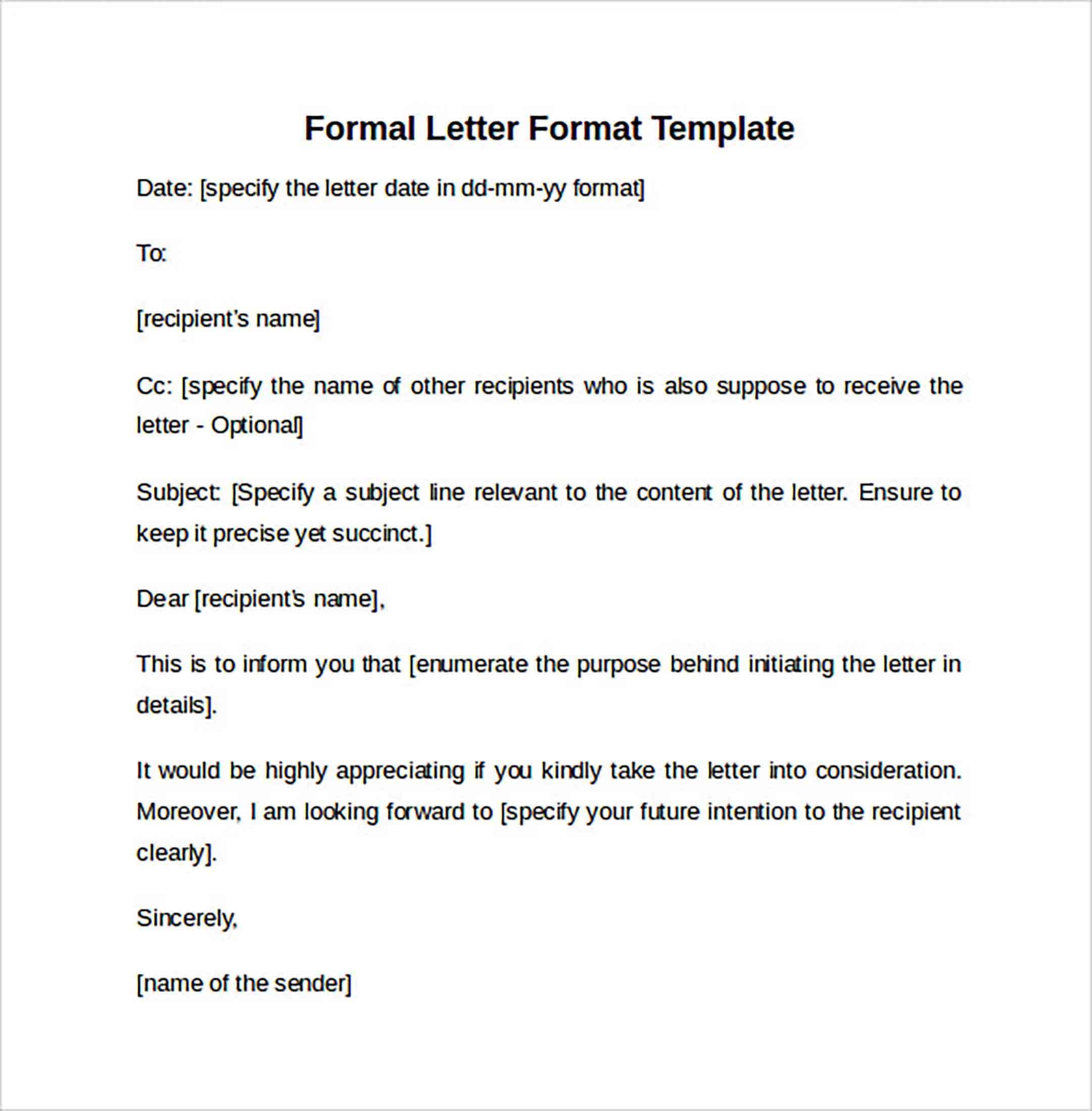 Formal Letter Format templates