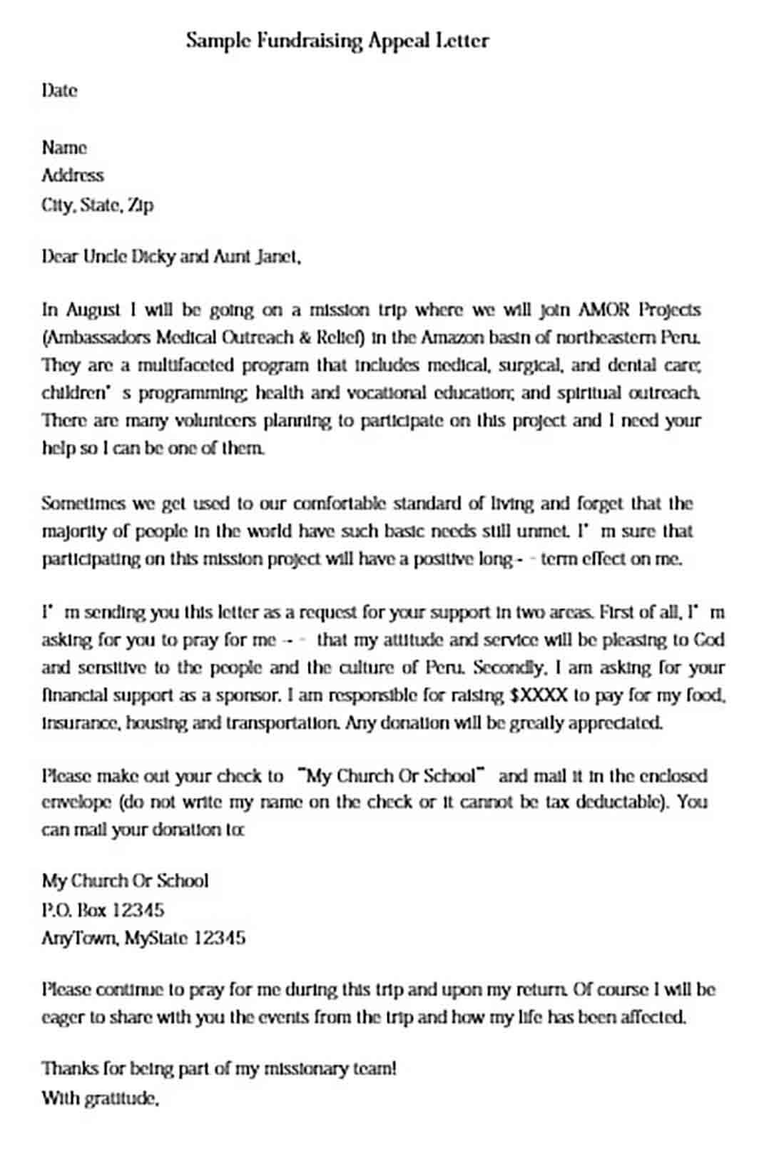 Fundraising Appeal Letter Example