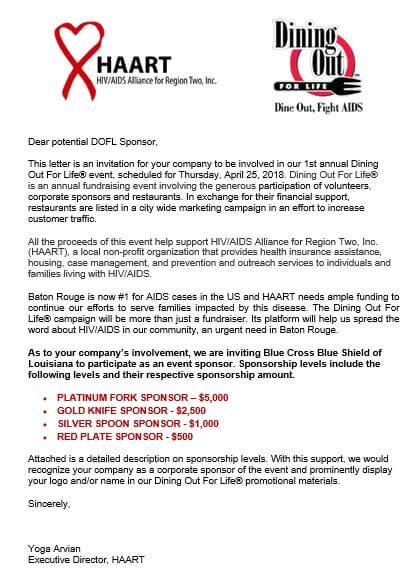 Fundraising Event Sponsorship Letter