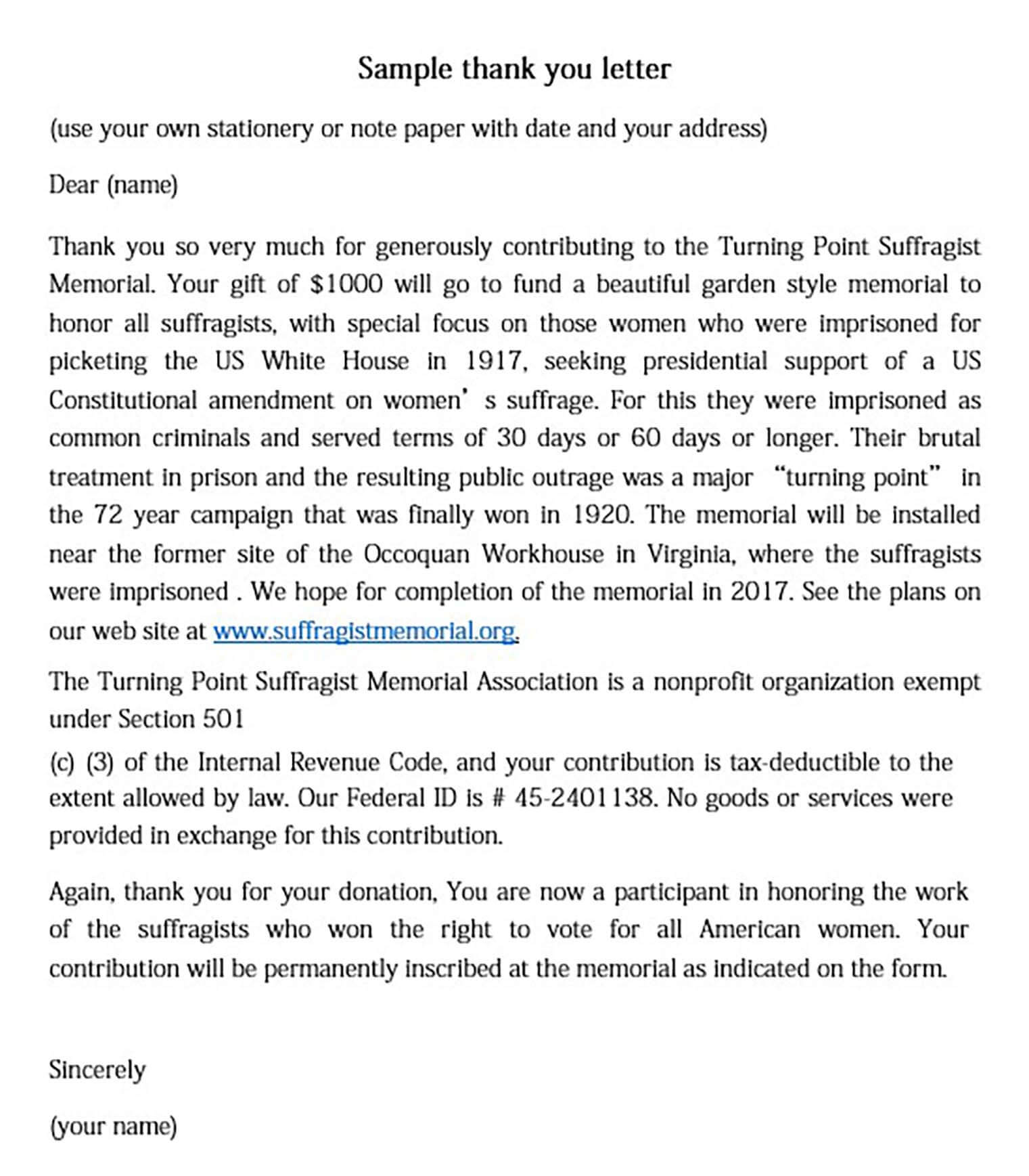 Generous Donation Thank You Letter
