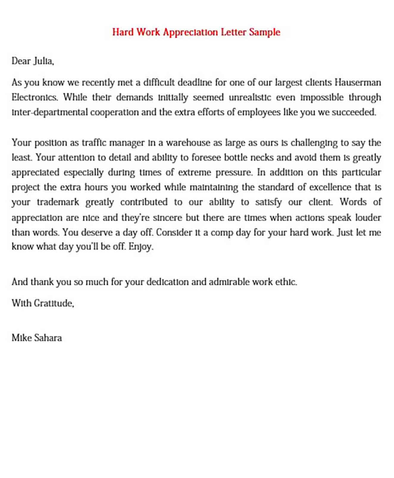 Hard Work Appreciation Letter Sample
