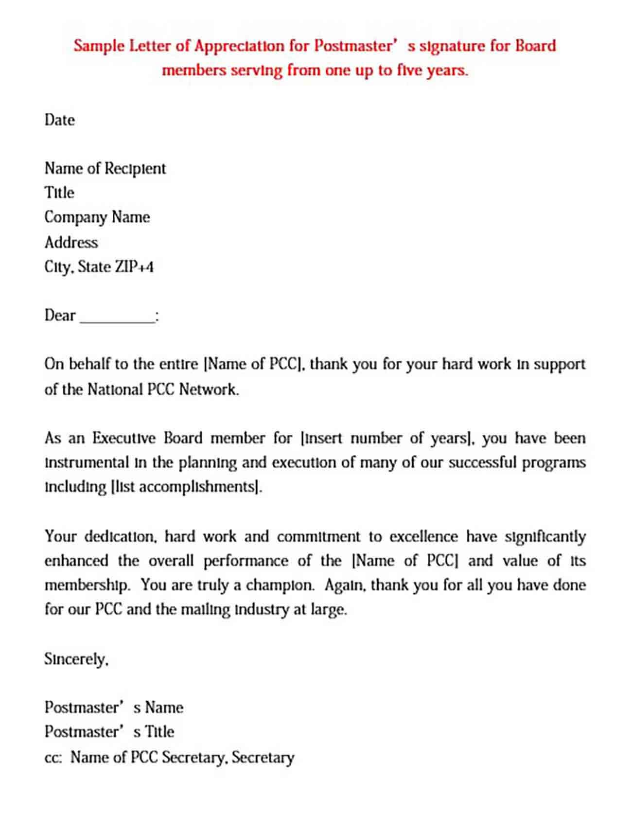 Hard Work Performance Appreciation Letter