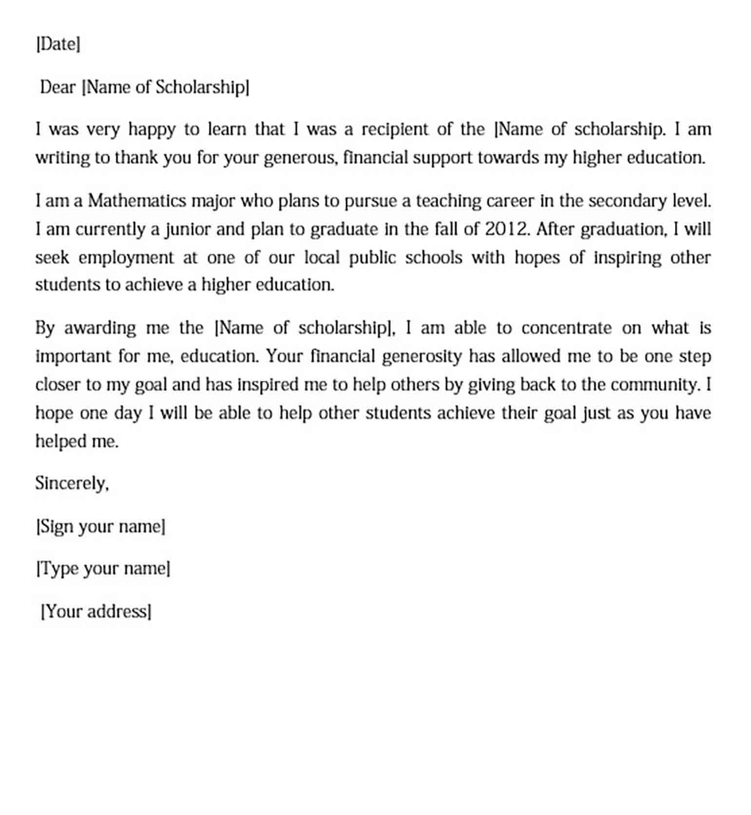 High School Scholarship Thank You Letter Sample