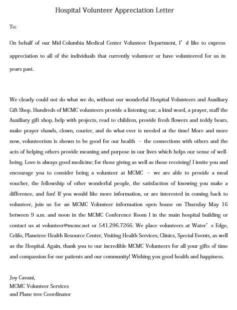 Hospital Volunteer Appreciation Letter