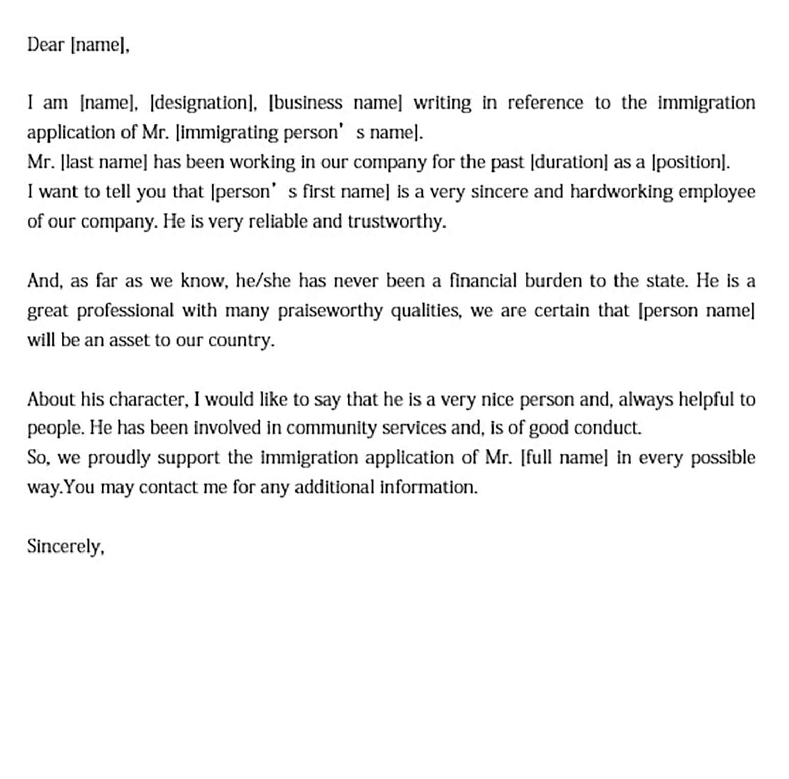 Immigration Letter of Support from Employer
