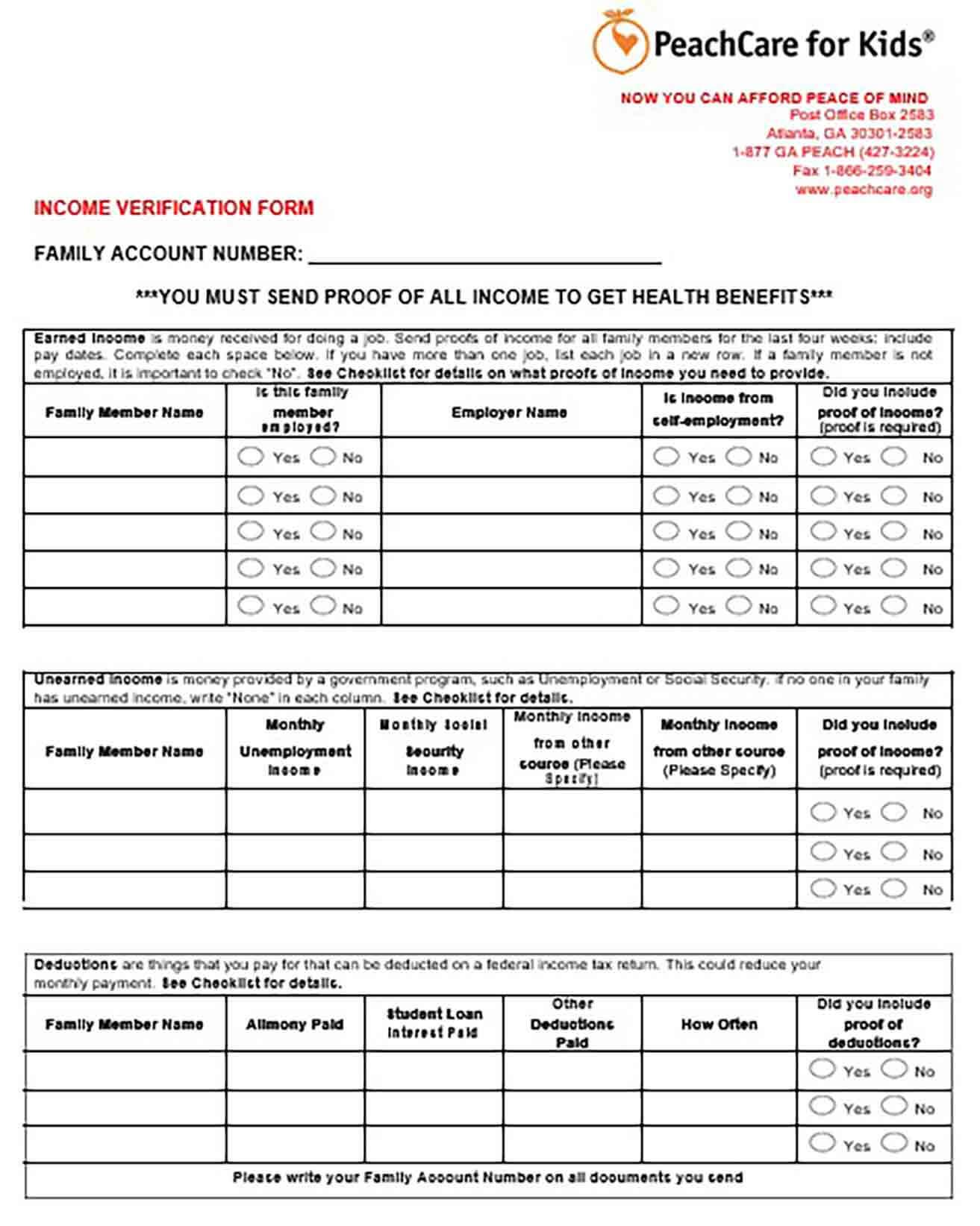 Income Verification Form Employee
