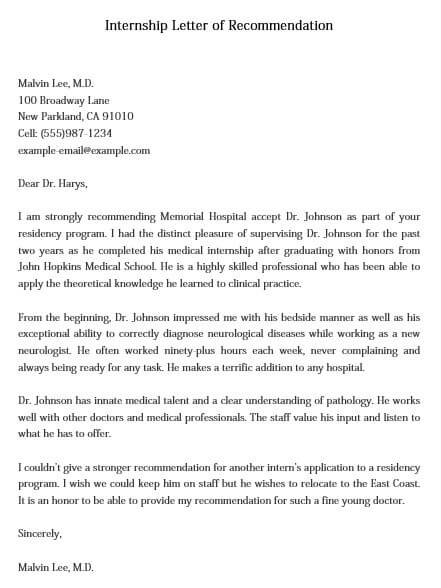 Internship Letter of Recommendation