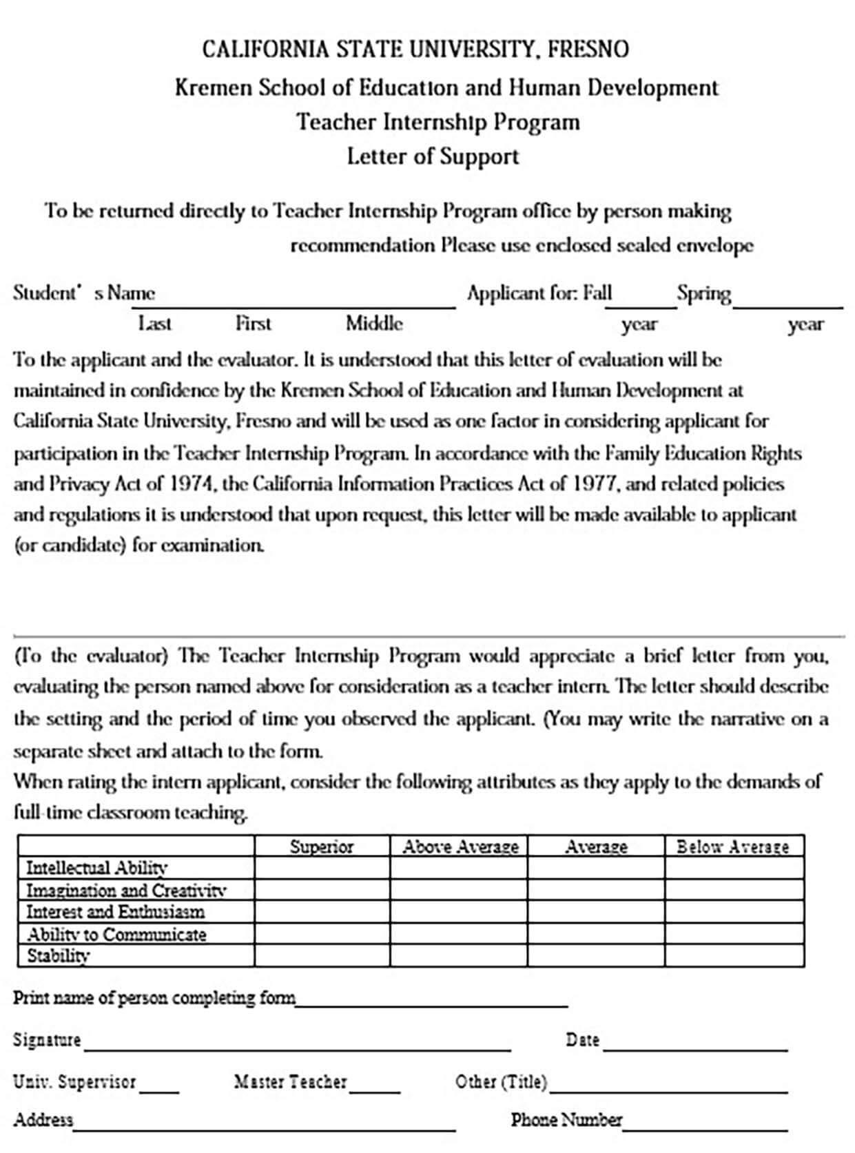 Internship Letter of Support