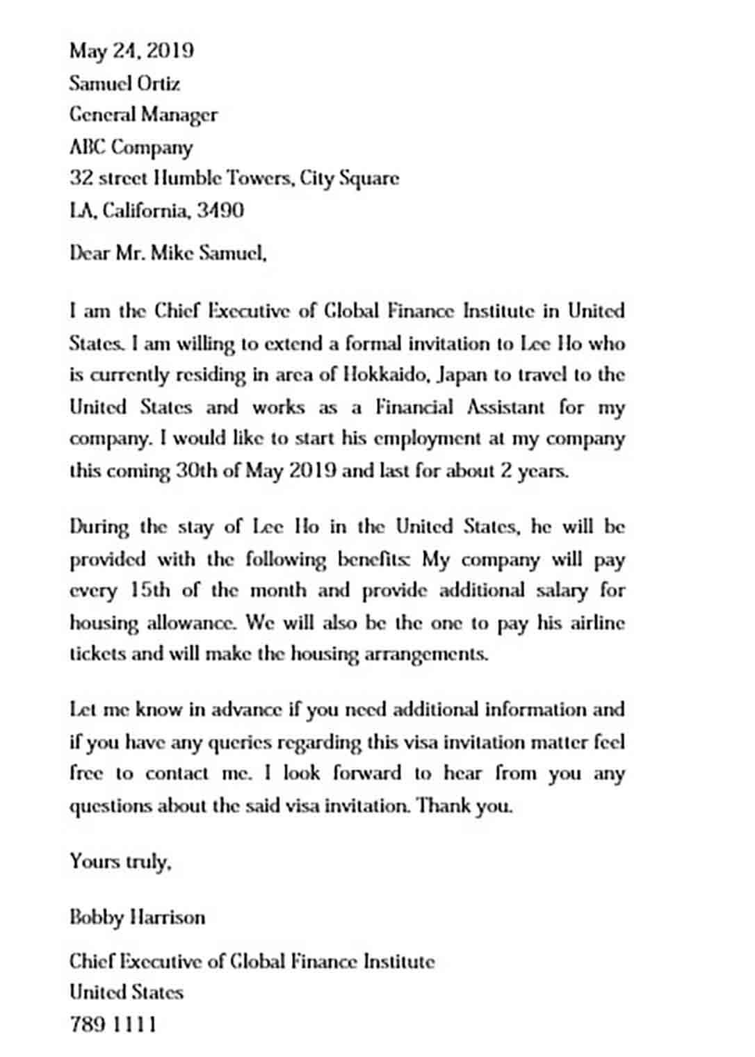 Invitation Letter for US Business Visa