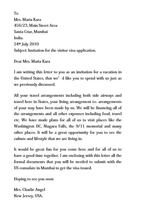 Invitation Letter for US Visitor Visa