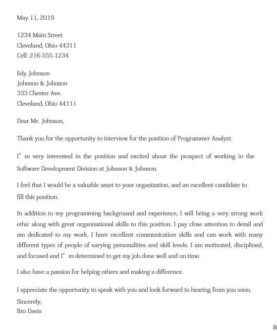 Job Interview Appreciation Letter