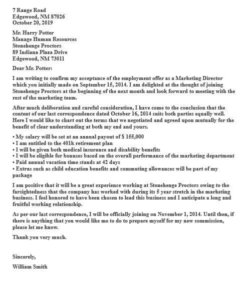 Job Offer Acceptance Letter Salary Negotiation