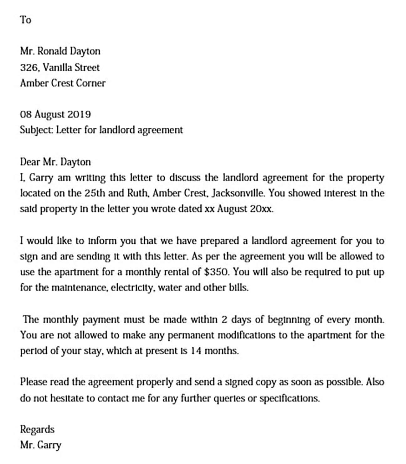 Landlord Agreement Letter