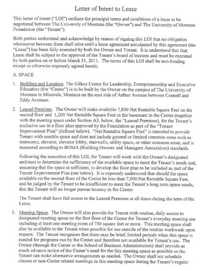 Lease Proposal Letter of Intent