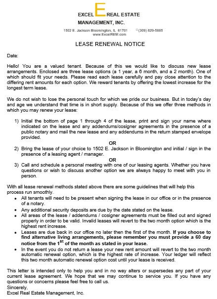 Lease Renewal Letter Example