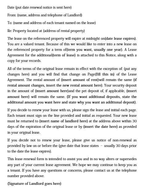 Lease Renewal Letter Format