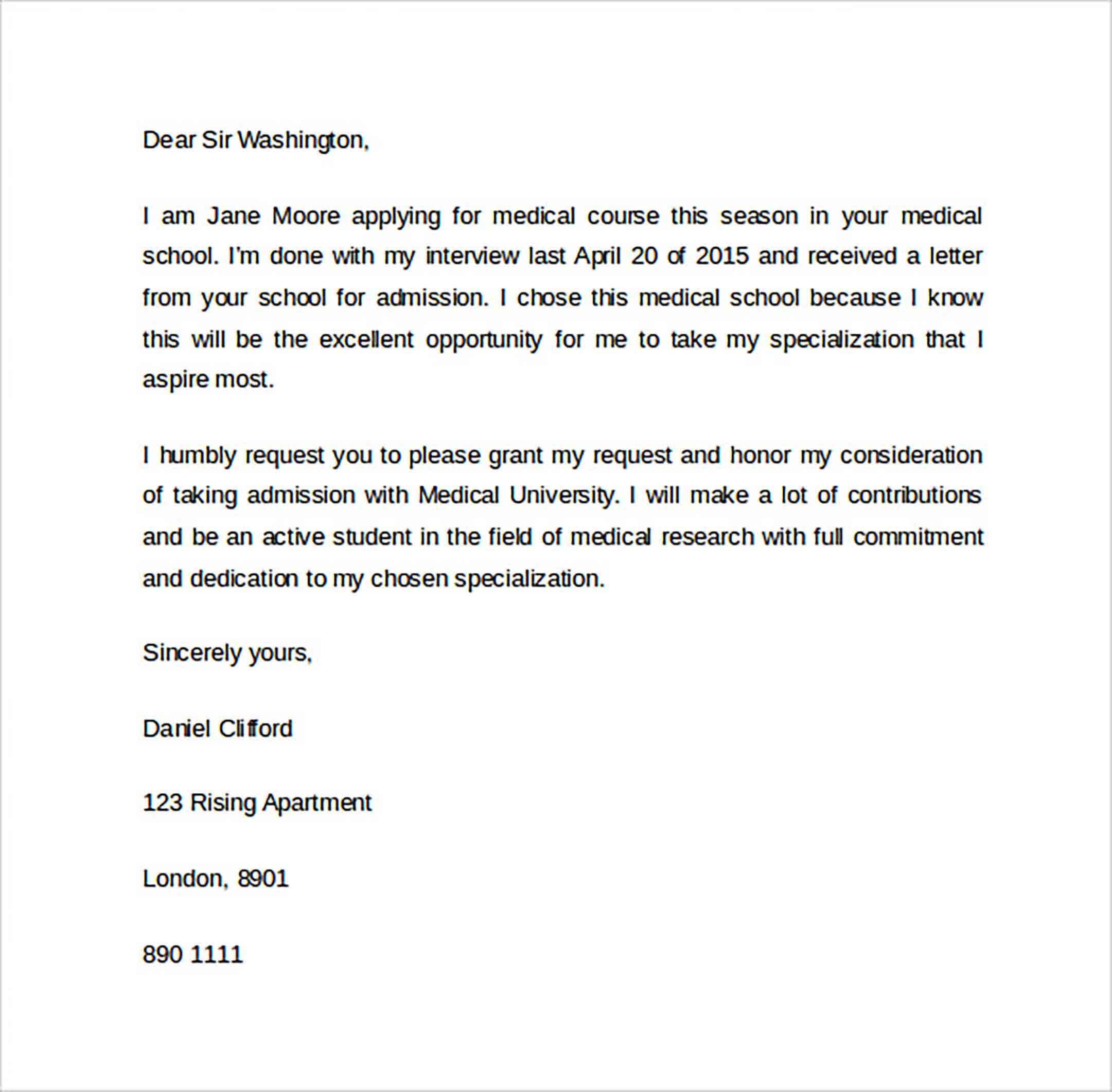 Letter Of Intent Gradual Medical School