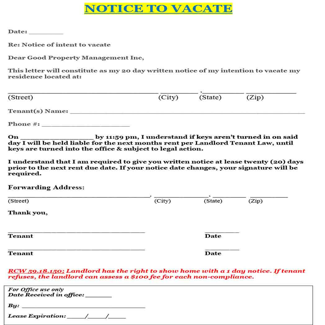 Letter Of Notice To Vacate