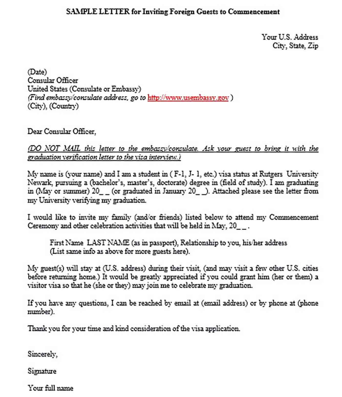 Letter for Inviting Foreign Guests for Visitor Visa
