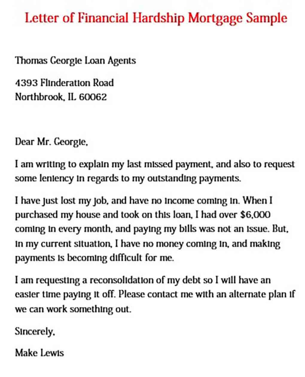 Letter of Financial Hardship Mortgage
