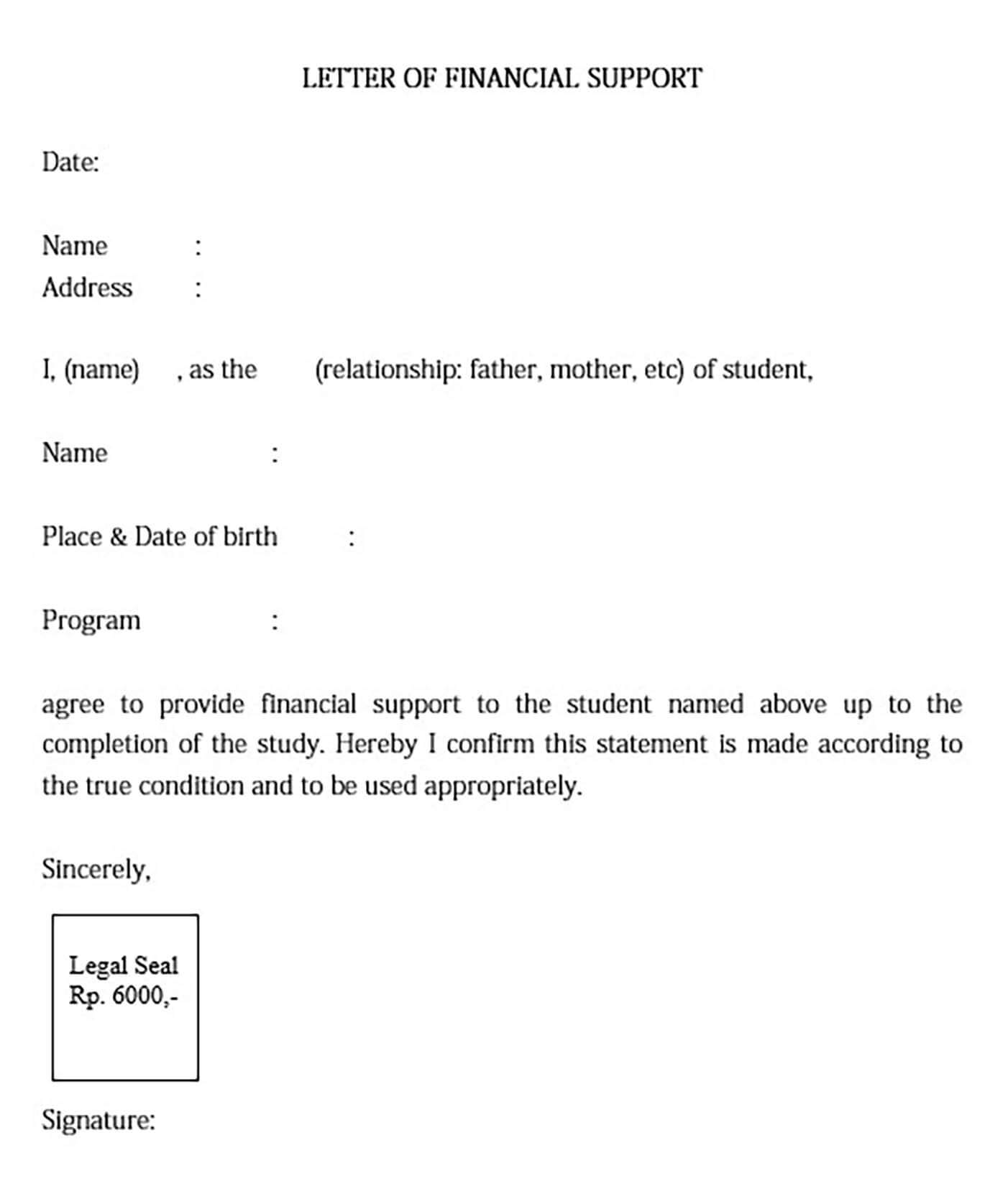 Letter of Financial Support for Student