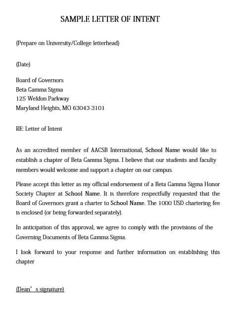 Letter of Intent For International University