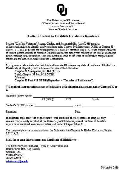 Letter of Intent For University Veteran Student