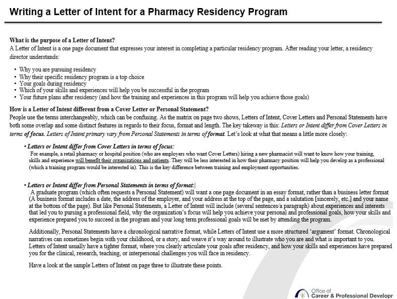 Letter of Intent For University of Pharmacy