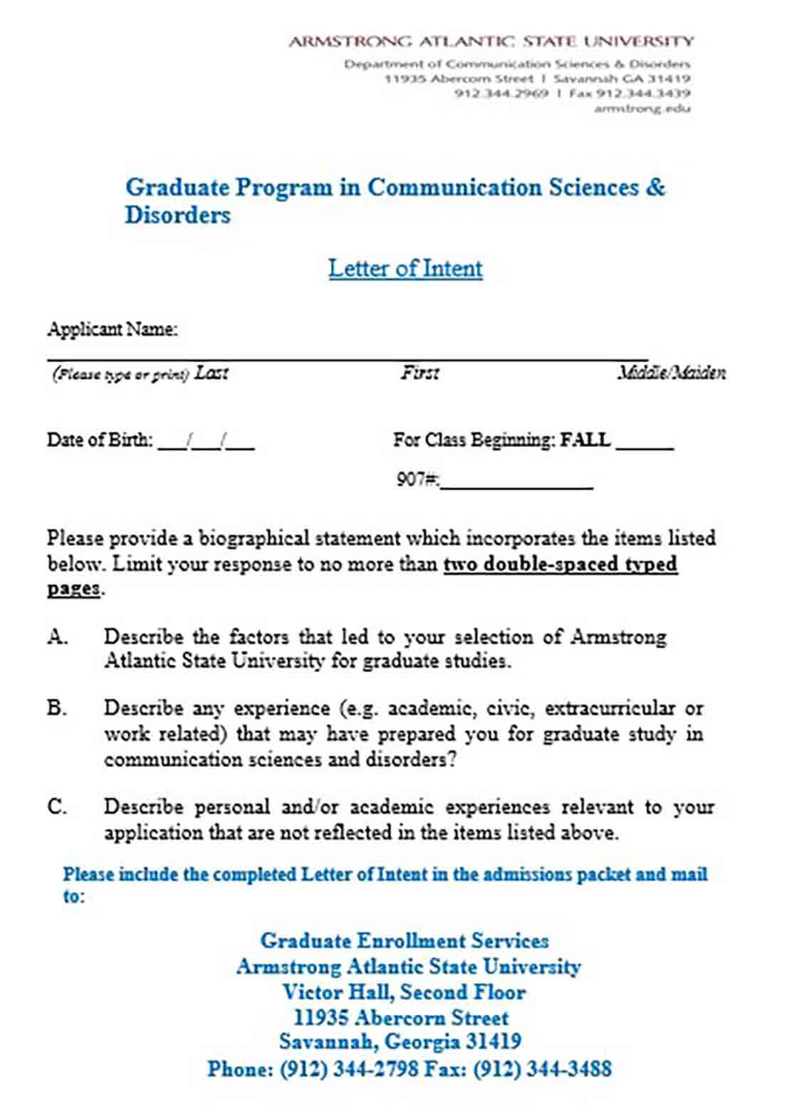 Letter of Intent Graduate School Science