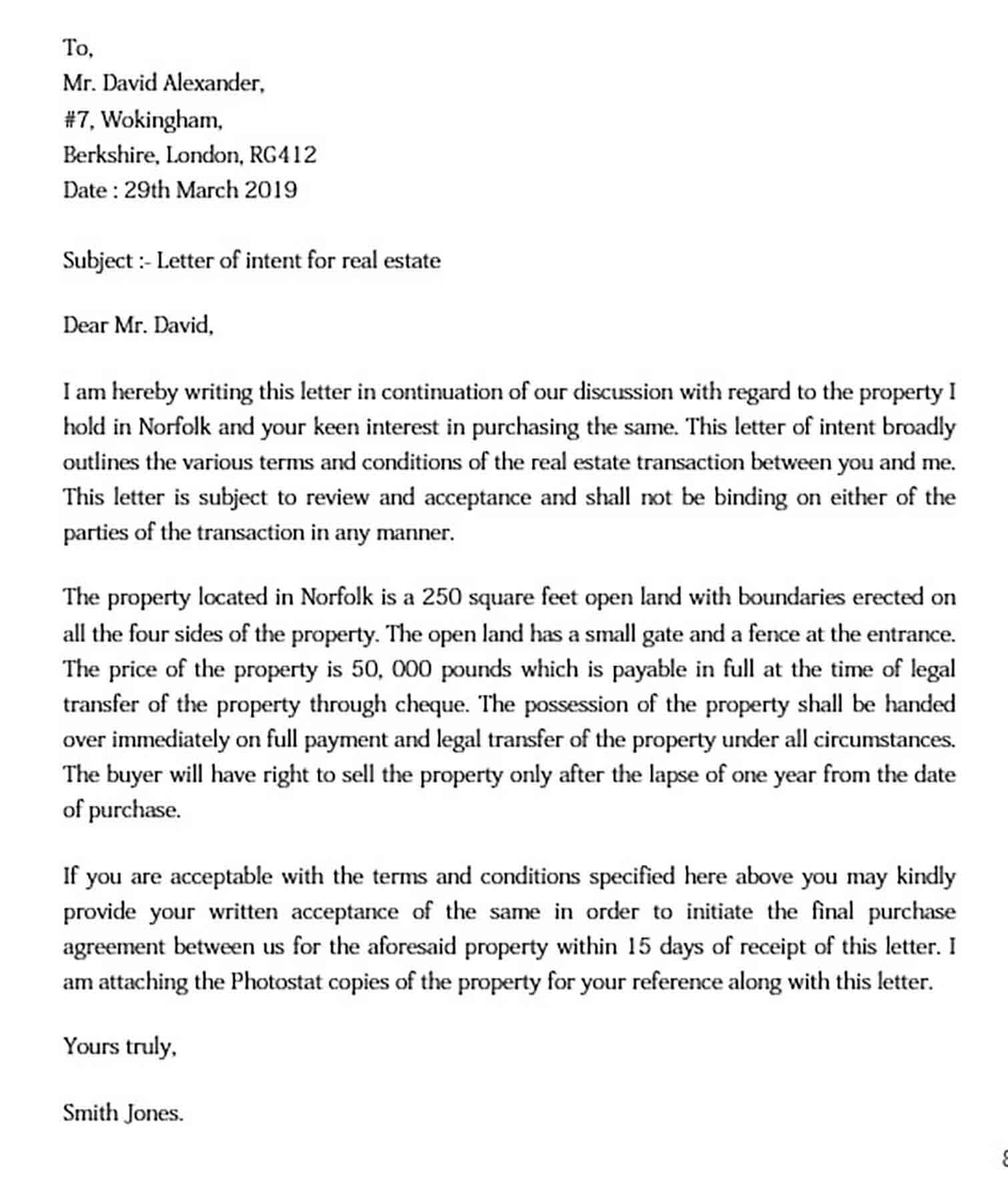 Letter of Intent Real Estate Sample